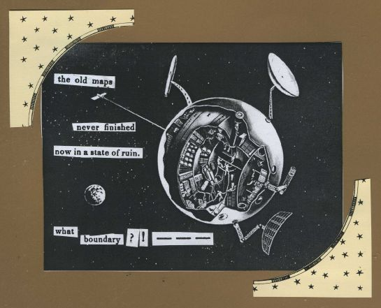 "Artist sketch is early space station concept from the 1959 NASA brochure ""Space The New Frontier.""  (Image credit: NASA.)   Cut-text forming the poem is from an out-of-print journal, ""The Eclectic Museum of Foreign Literature, Science and Art, Volume 1"" (1843)."