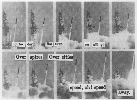 "Cut text from the 1840 ""The Citizen (or, Dublin Monthly Magazine).""  Background photo sequence is from the failed launch of the ST-5, June 1961.  Image credit: NASA."