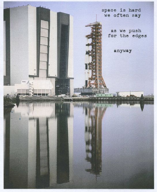 Poem typed onto photo of the Apollo 15 rollout (May 11, 1971).  Image credit: NASA