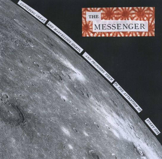 "Piece honoring the Mercury MESSENGER mission created for my 7,000th tweet.  The text is taken from the title page of a translated version of Galileo's ""Sidereal Messenger.""  Background image was taken of Mercury by MESSENGER on October 18, 2014.  Image credit: NASA/Johns Hopkins University Applied Physics Laboratory/Carnegie Institution of Washington."